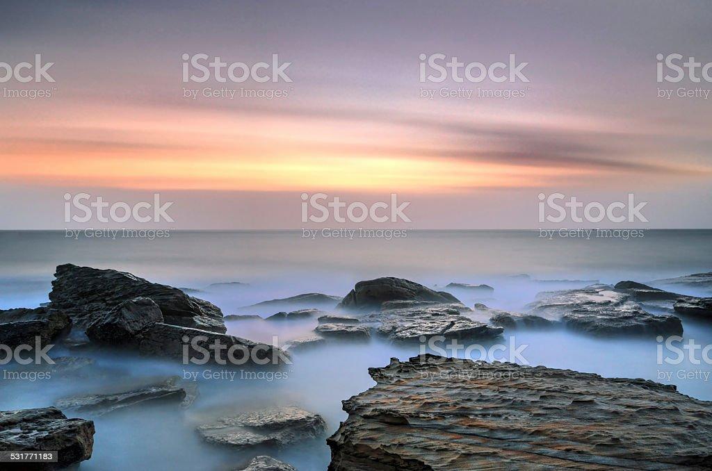 Coogee Beach Sydney sunrise seascape stock photo