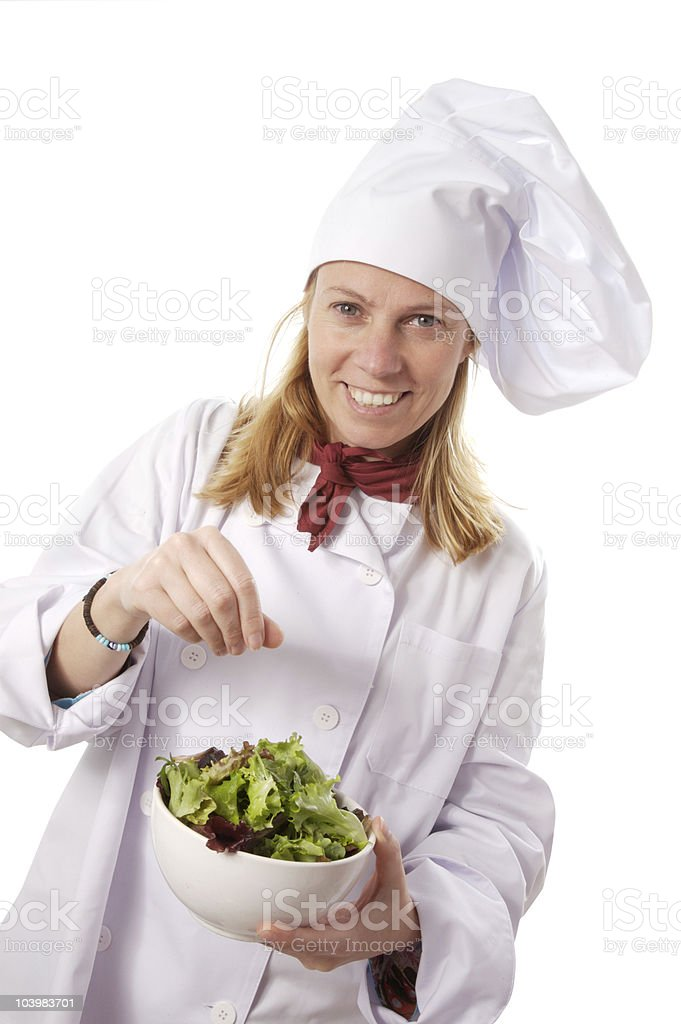 cook and salad stock photo