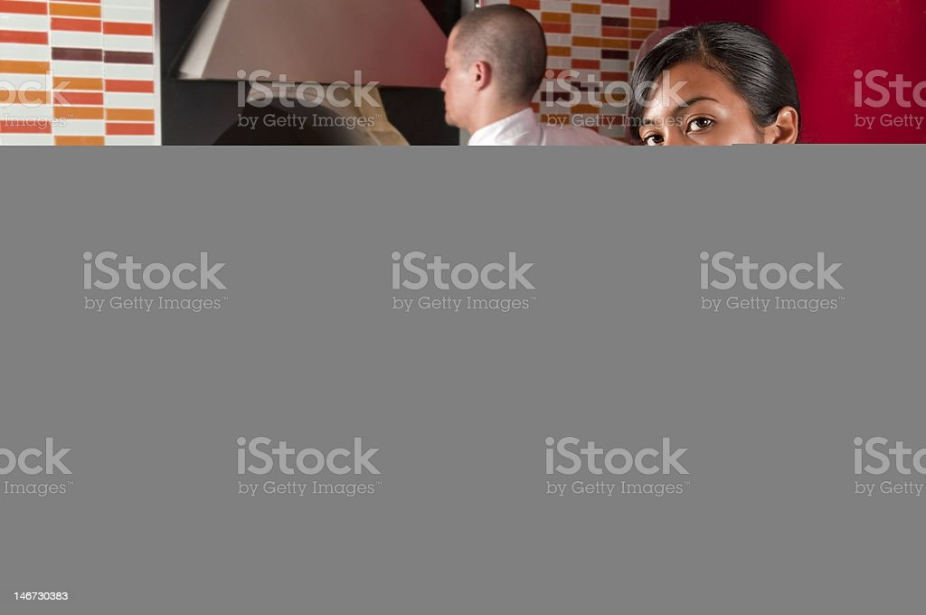 Cook and waitress royalty-free stock photo