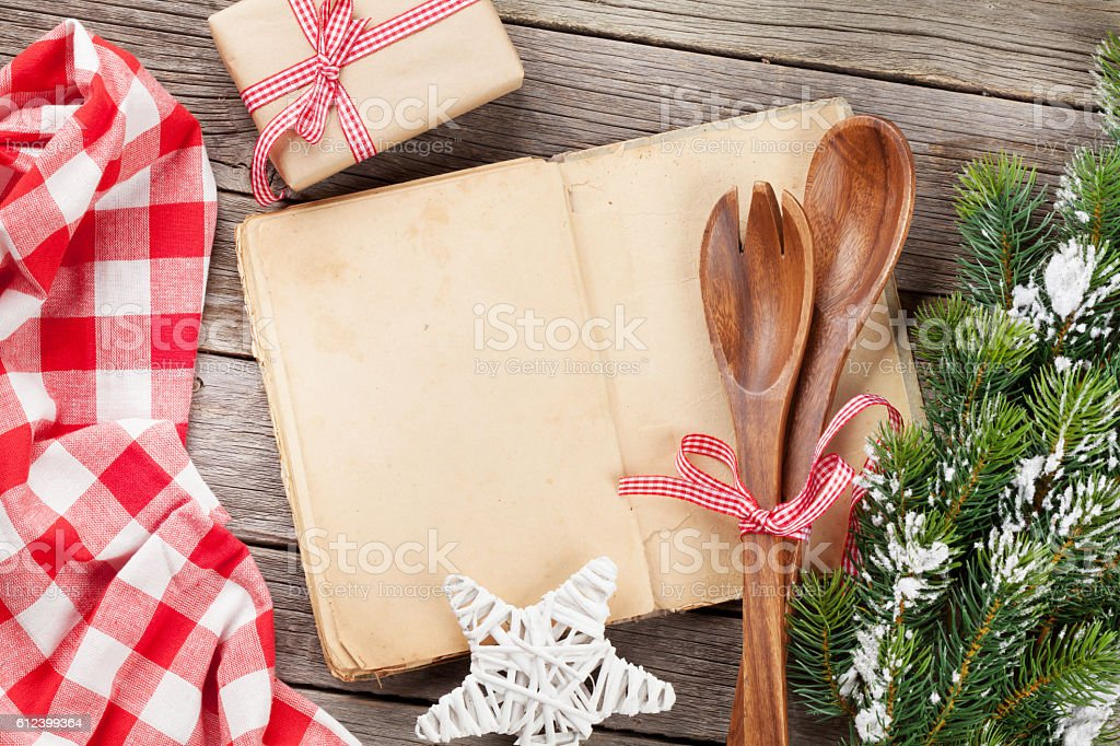 Cook book and utensils stock photo