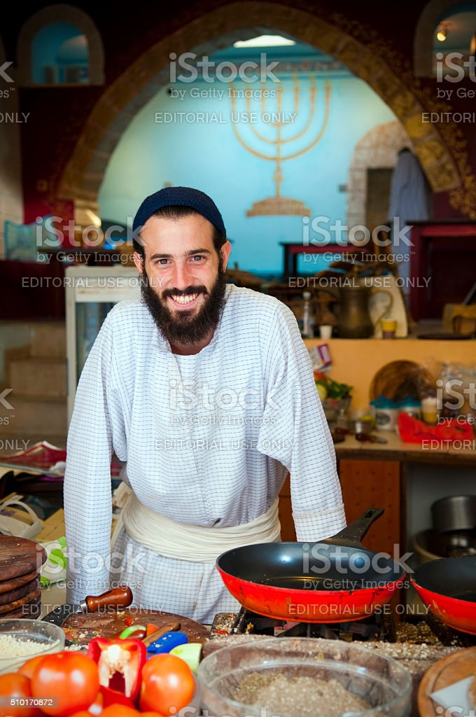 Cook in Safed, Israel stock photo