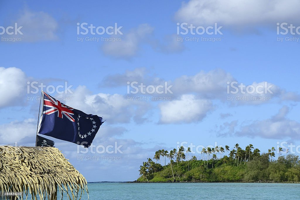 Cook Island Flag and Lagoon royalty-free stock photo