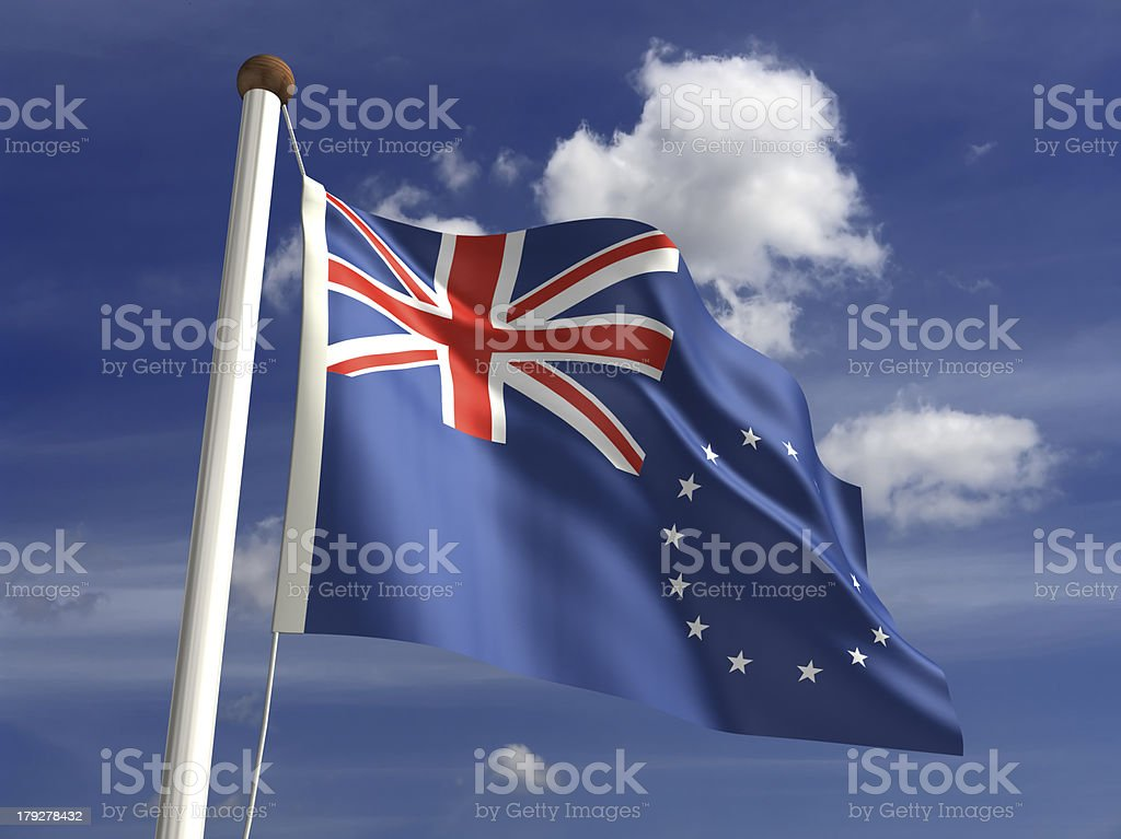 Cook Islands flag (with clipping path) stock photo