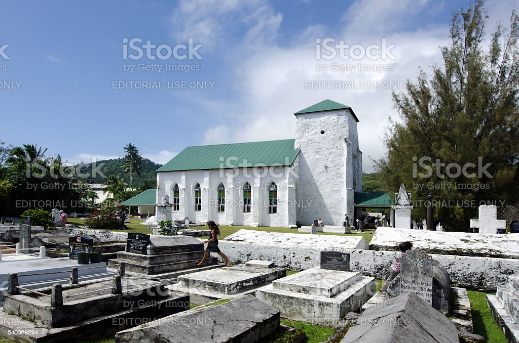 Cook Islands people pray at CICC church stock photo
