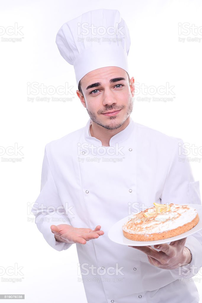 cook pastry chef isolated white background holding proudly cheesecake pie stock photo