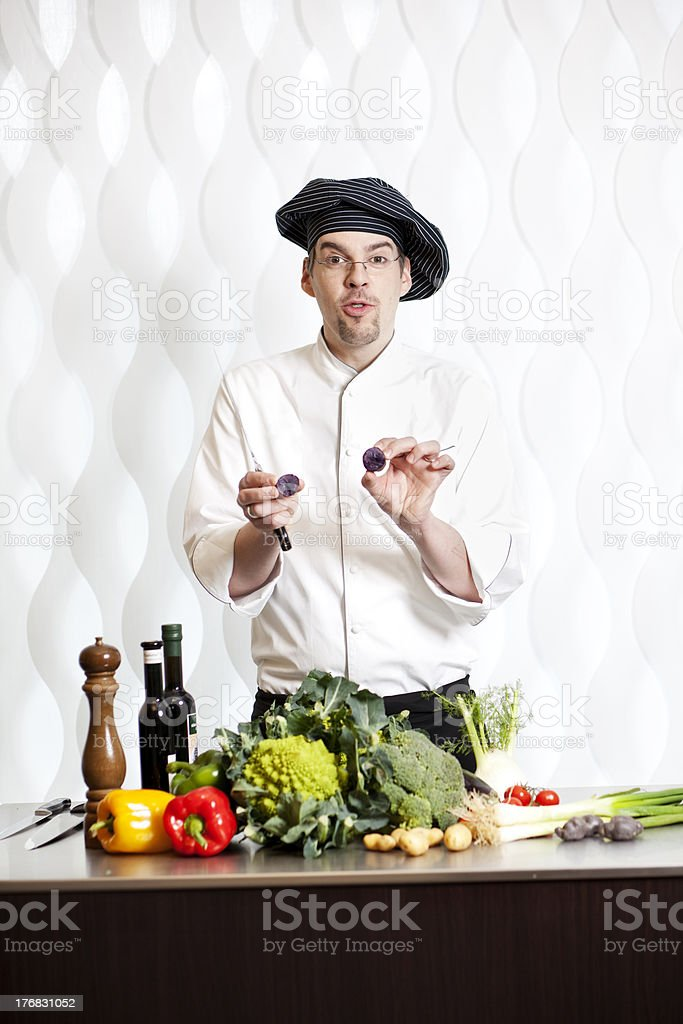 cook shows vegetables stock photo