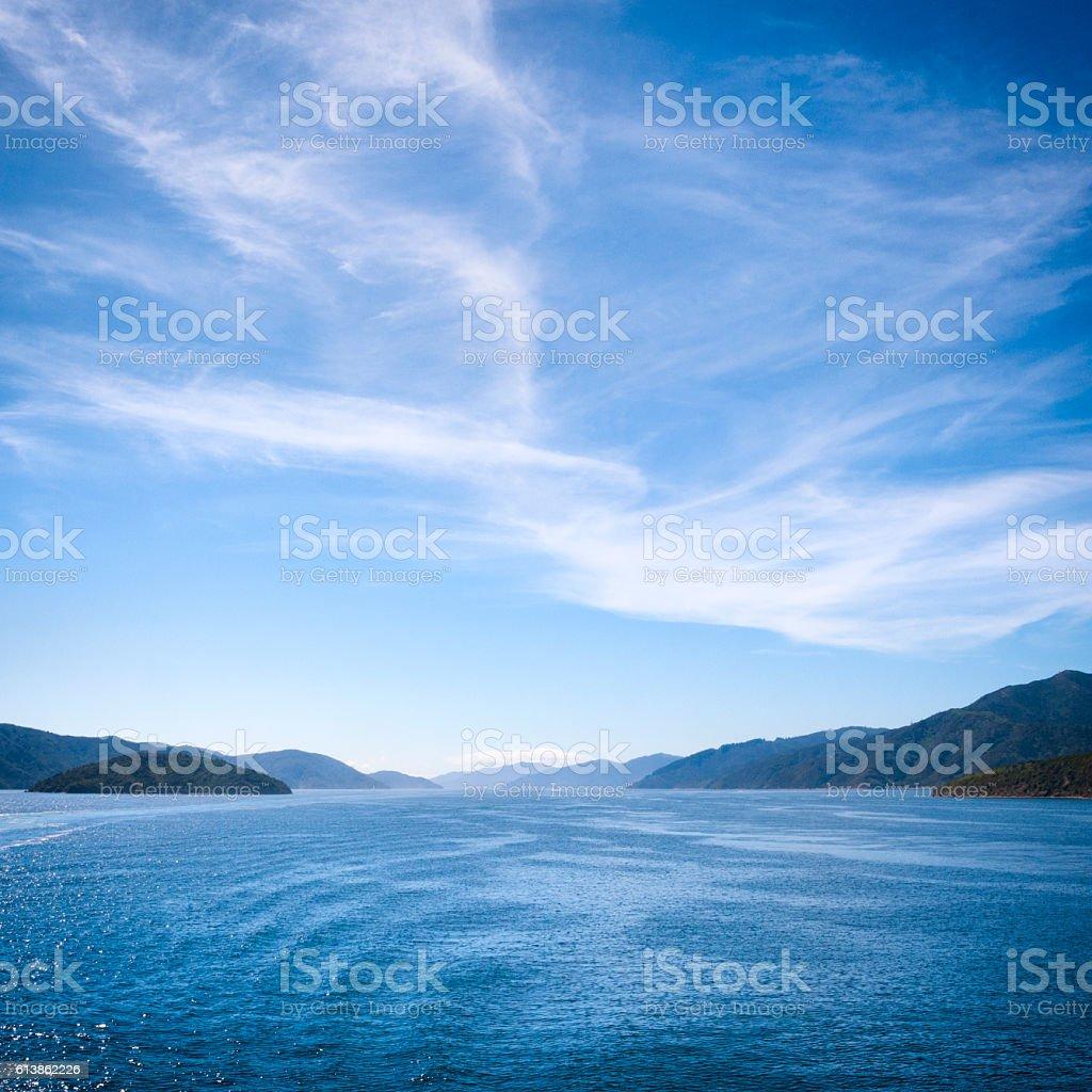 Cook Strait Landscape of New Zealand stock photo