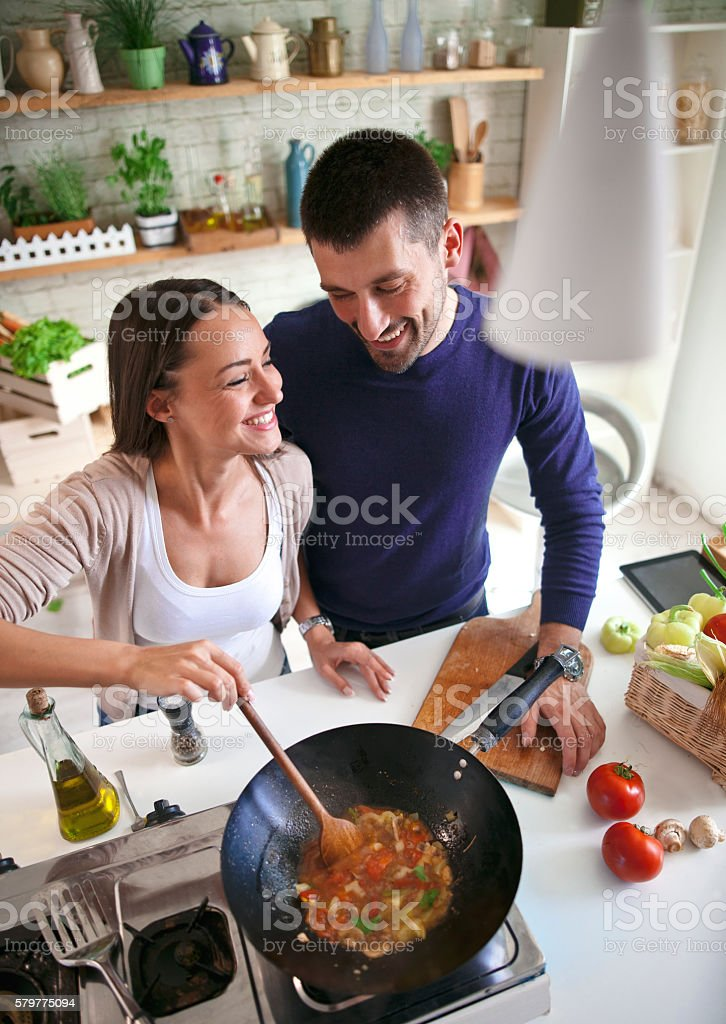Cook together stock photo