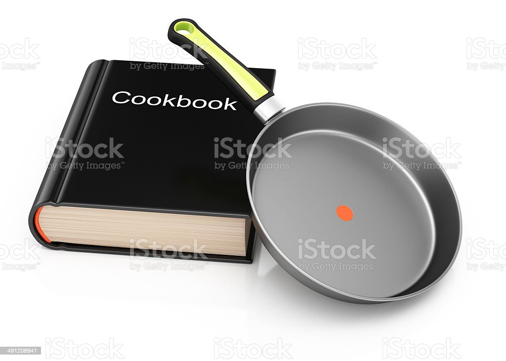 Cookbook and frying pan royalty-free stock photo