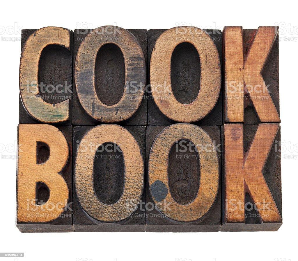 cookbook in letterpress type royalty-free stock photo