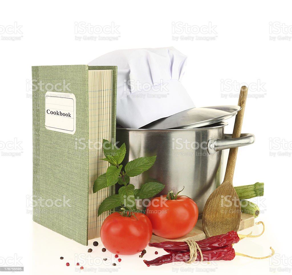 Cookbook, vegetables and casserole isolated on white royalty-free stock photo