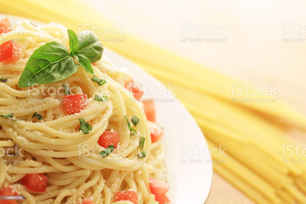 Cooked and dry spaghetti royalty-free stock photo