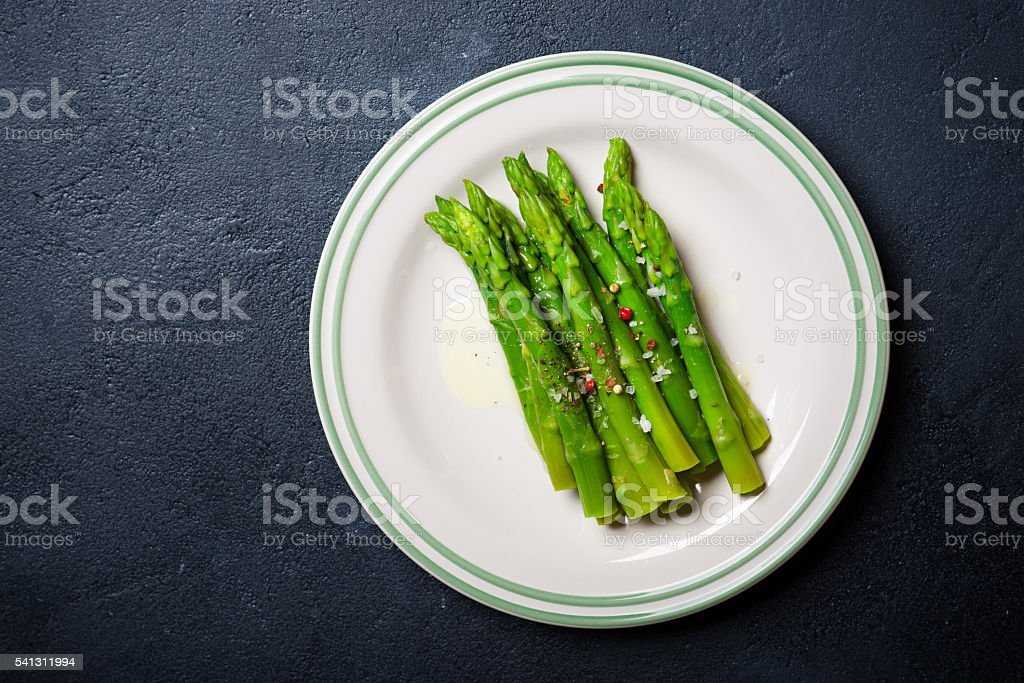 Cooked asparagus stock photo