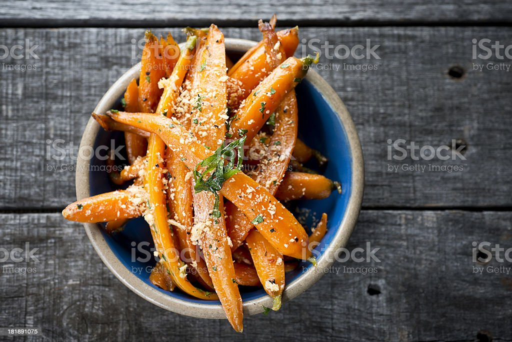 Cooked Baby Carrots stock photo