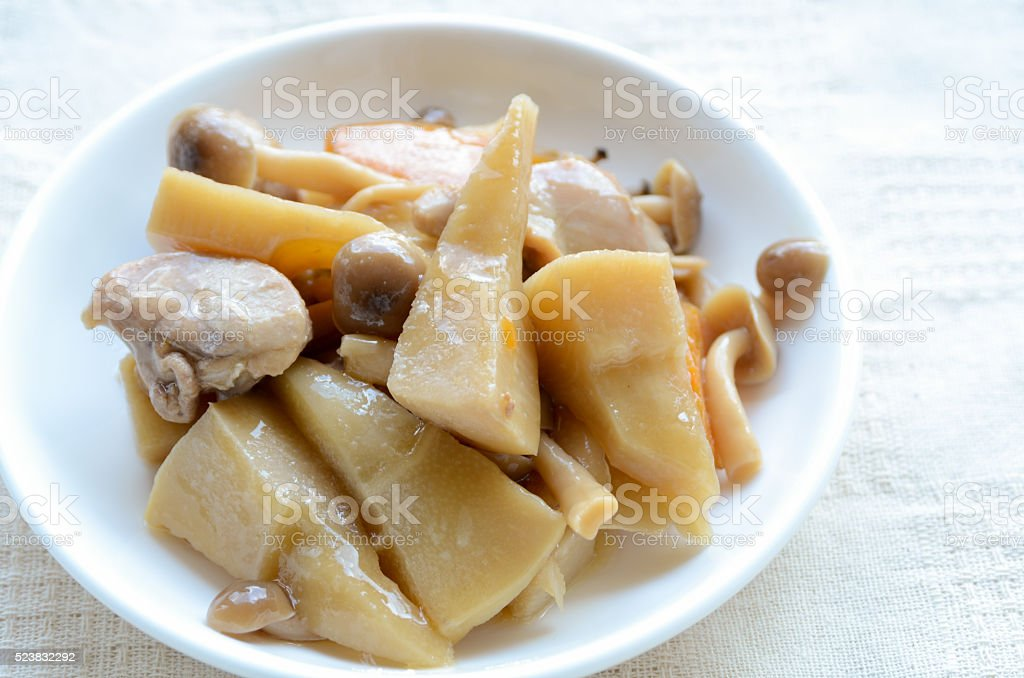 cooked bamboo shoot and chicken stock photo