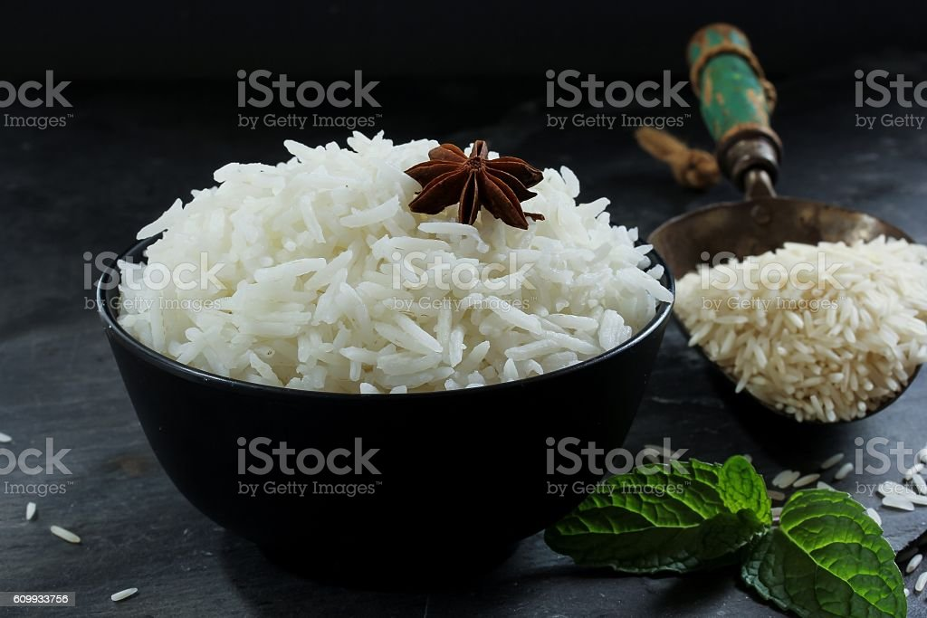 Cooked Basmati rice in abowl, selective focus stock photo