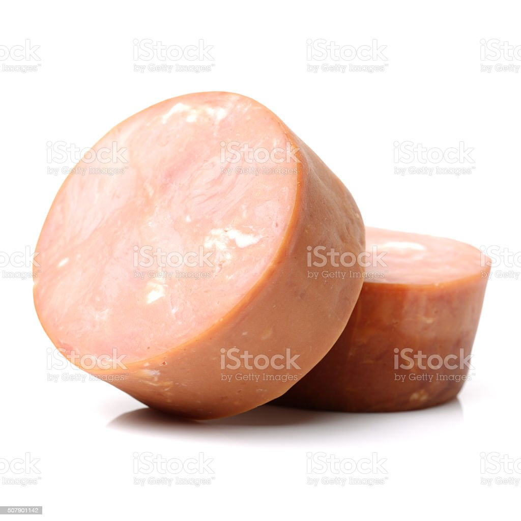 cooked boiled ham sausage stock photo