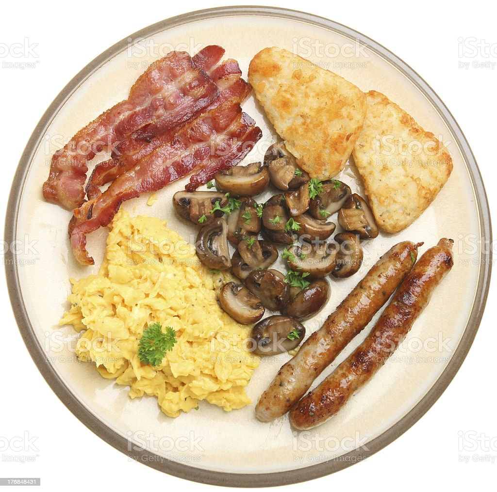 Cooked Breakfast with Scrambled Egg royalty-free stock photo