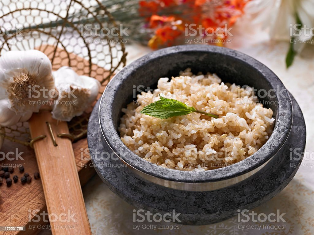 Cooked Brown Rice stock photo