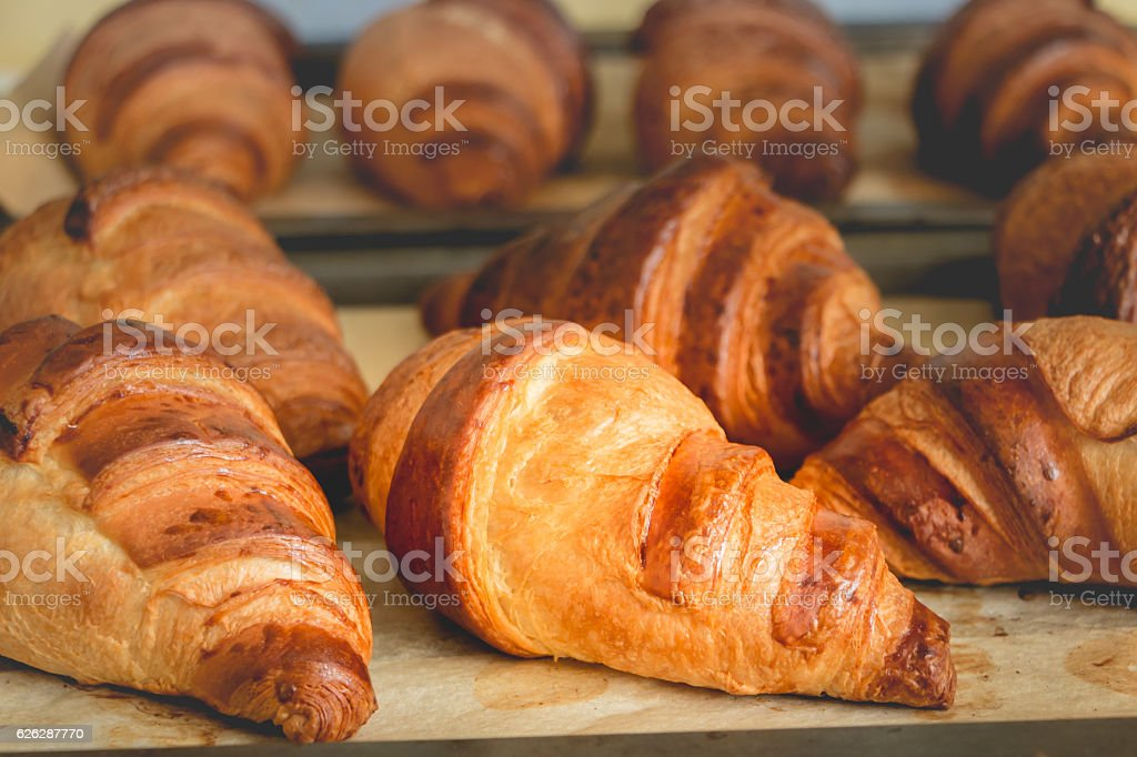 cooked butter croissant stock photo