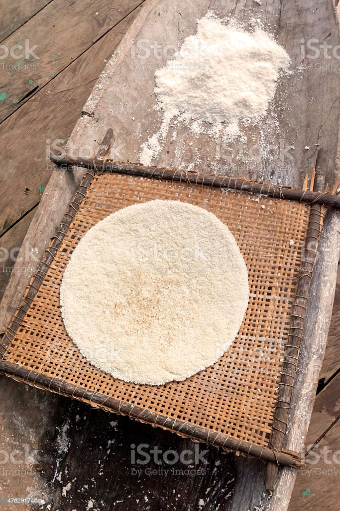 Cooked Cassava Pie And Yucca Grinded Root, Ecuador stock photo