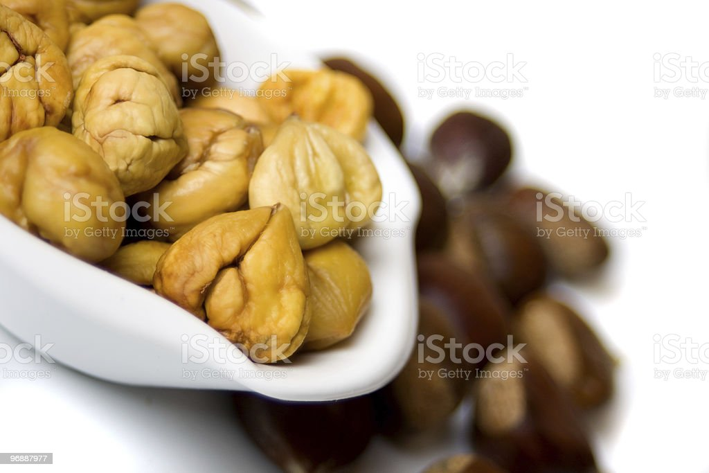 Cooked chestnut served in bowl royalty-free stock photo