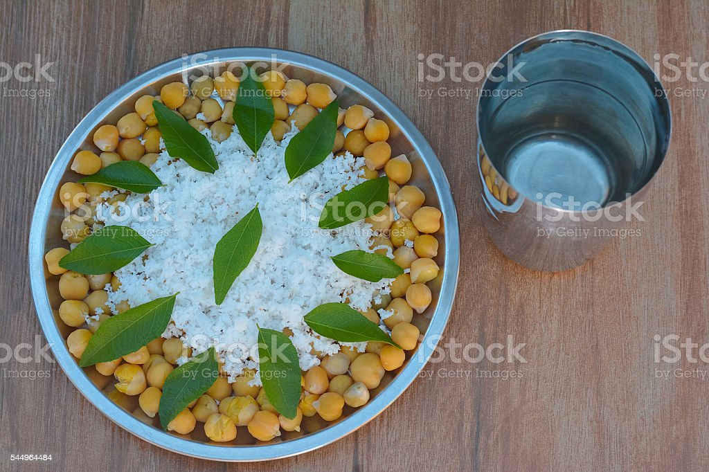Cooked Chickpeas Or Boiled Grams stock photo