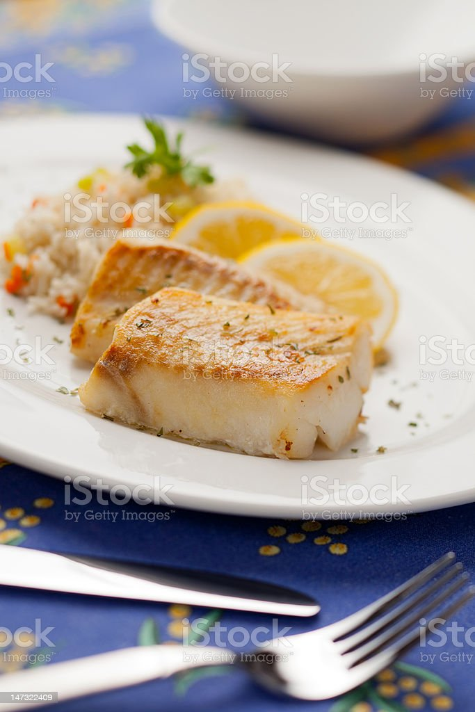 Cooked cod fish stock photo