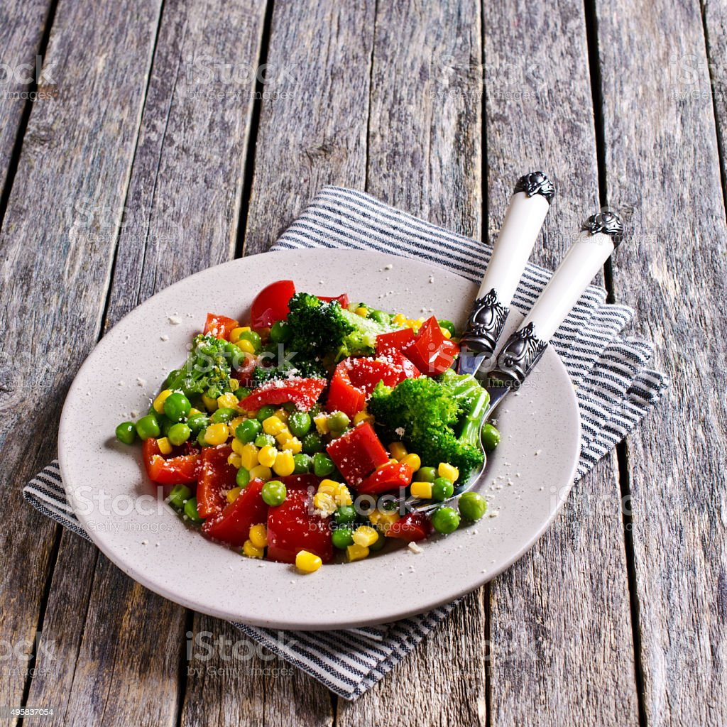 Cooked colorful vegetables stock photo