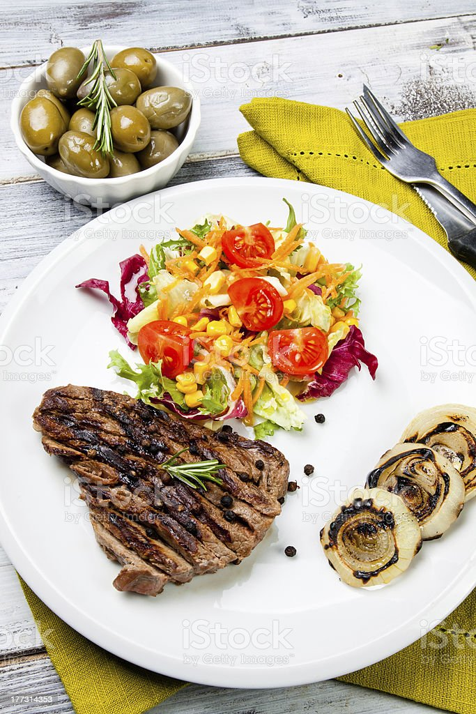 cooked cut of meat royalty-free stock photo