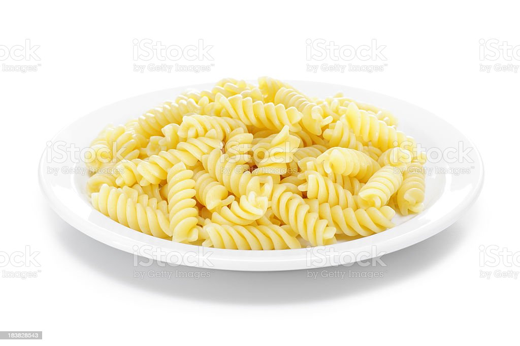 Cooked fusilli pasta stock photo