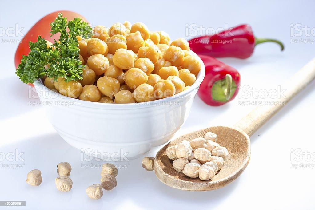 Cooked garbanzo beans. stock photo