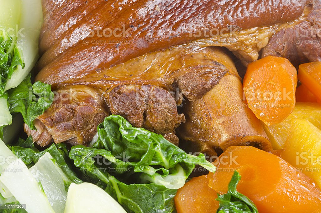 Cooked Ham Hock with Vegetables stock photo