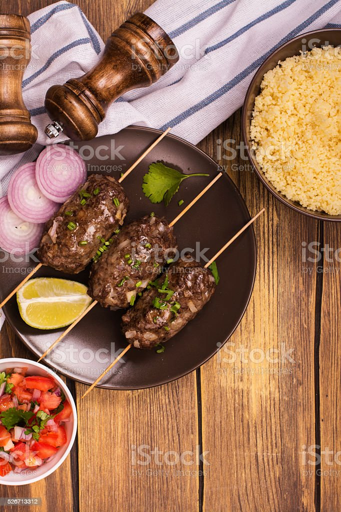 Cooked kebabs, top view stock photo