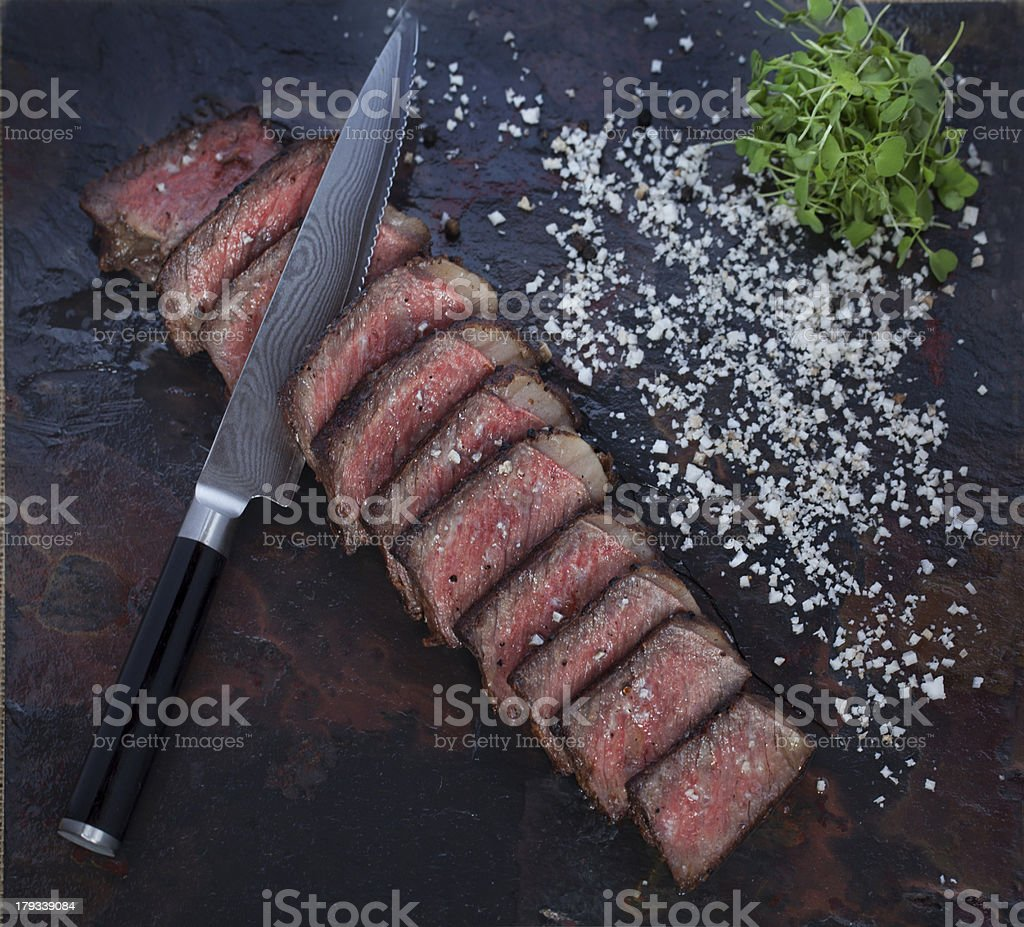 cooked Kobe steak sliced royalty-free stock photo