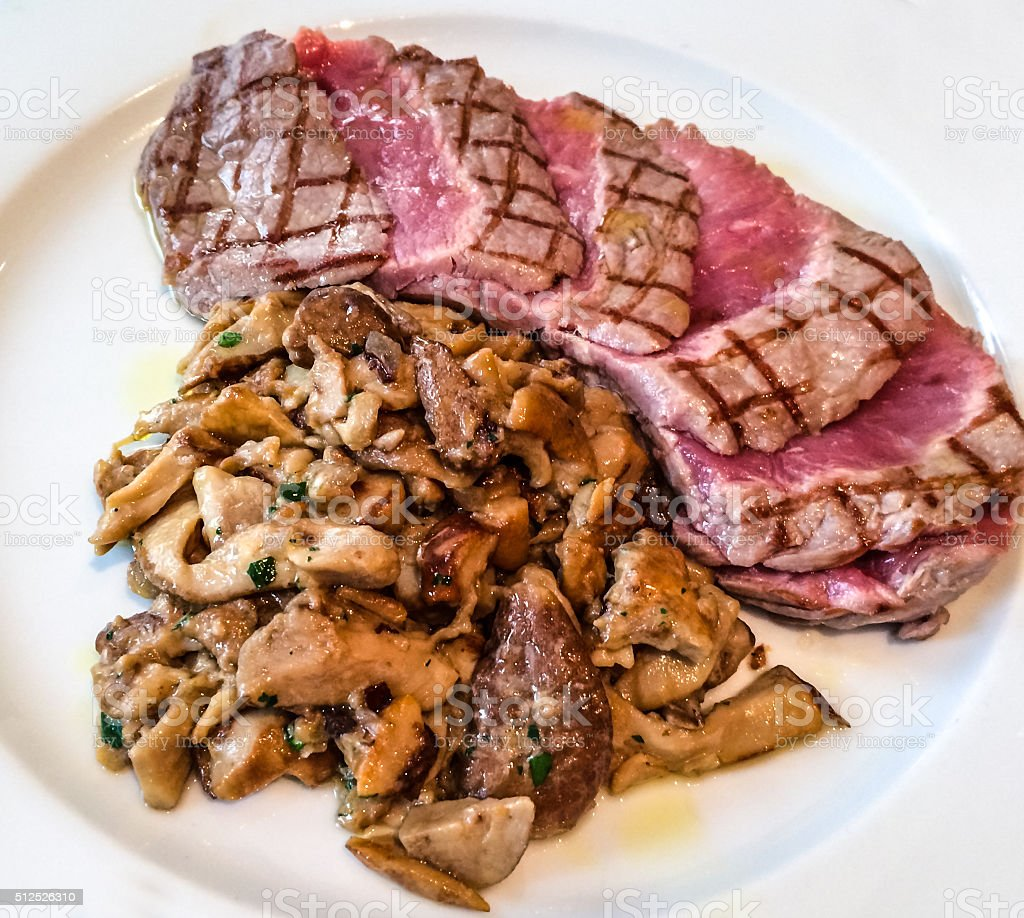 Cooked mean with mushrooms on a plate stock photo