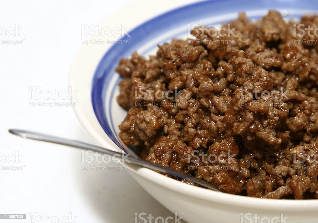 Cooked meat in a bowl royalty-free stock photo