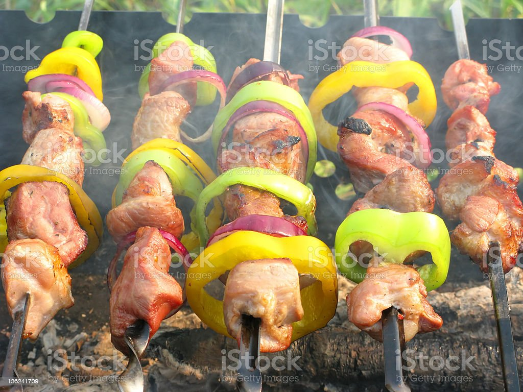 cooked meat with vegetables royalty-free stock photo