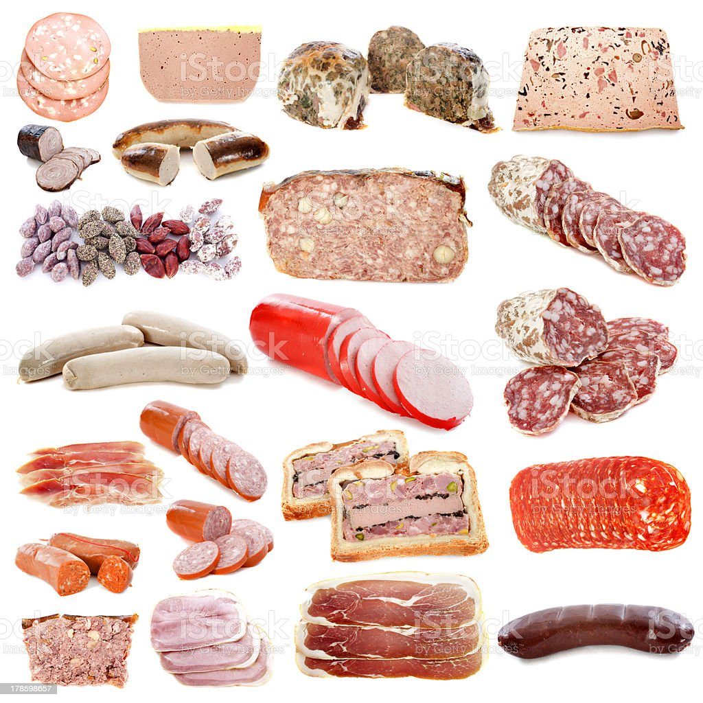 cooked meats stock photo