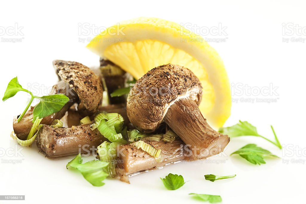Cooked mushrooms stock photo