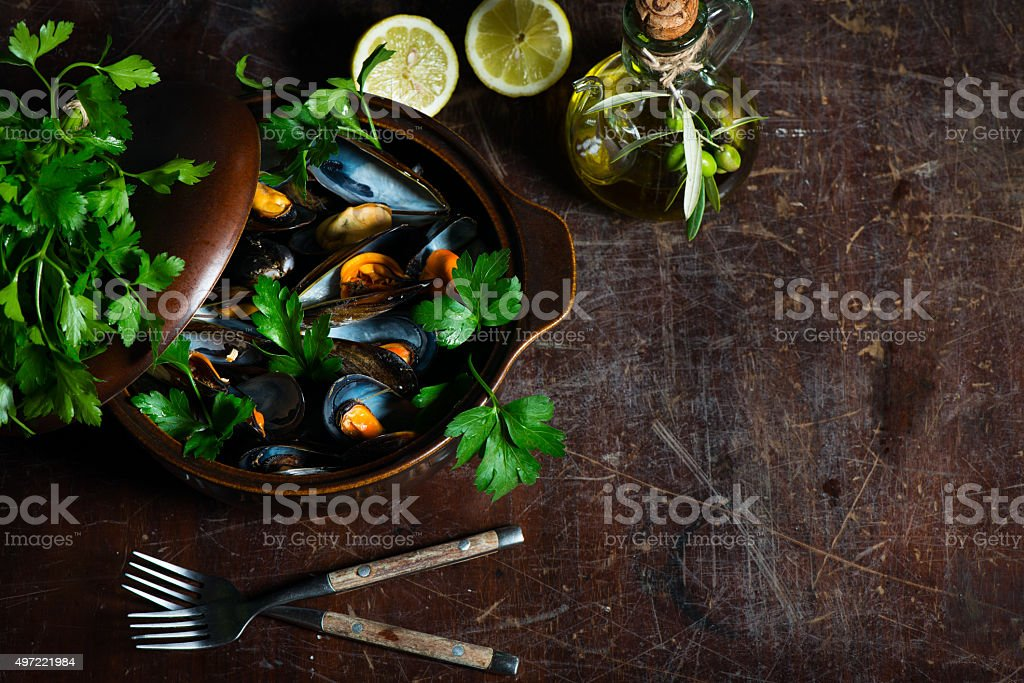 Cooked mussels stock photo