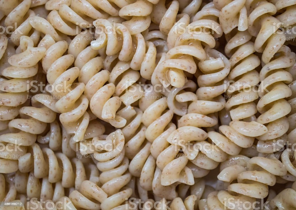 Cooked Plain Brown Wholewheat Fusilli Pasta Overhead royalty-free stock photo