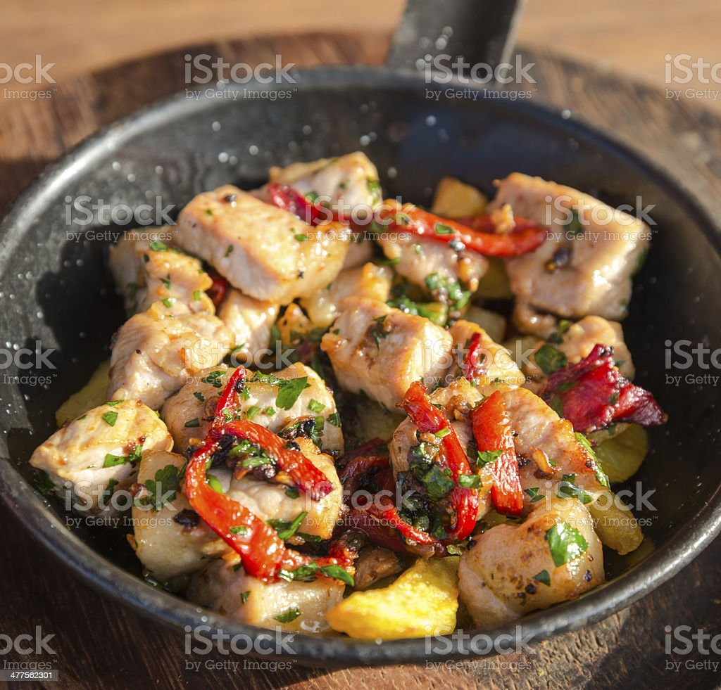 Cooked Pork Chops in a Frying Pan royalty-free stock photo