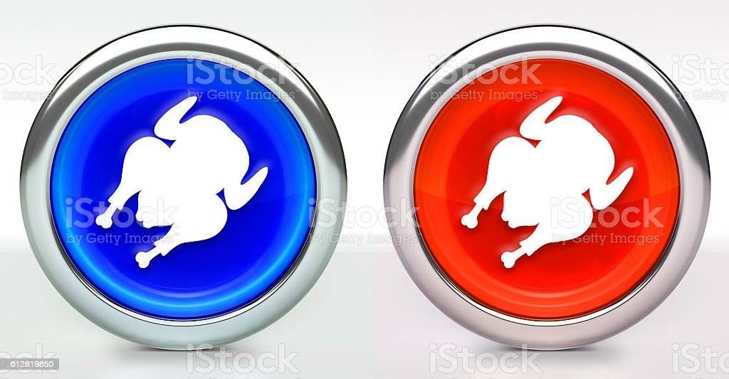 Cooked Poultry Icon on Button with Metallic Rim stock photo
