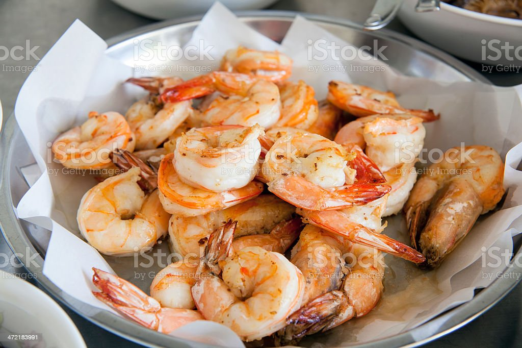 Cooked Prawns for Chinese Dish Closeup stock photo