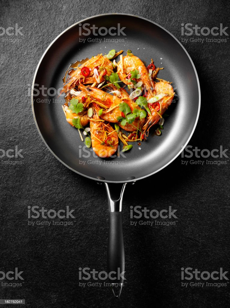 Cooked Prawns in a Frying Pan royalty-free stock photo
