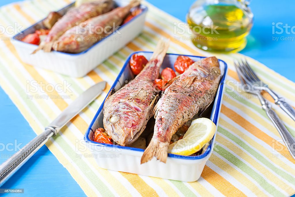 cooked red mullet with vegetables stock photo
