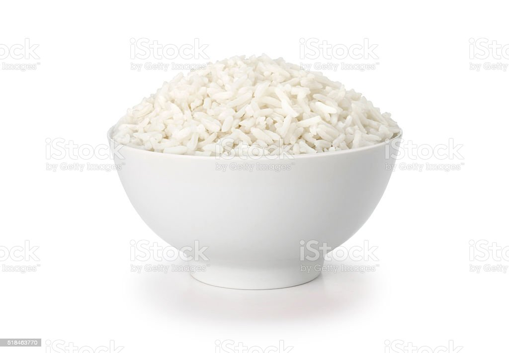 cooked rice in white cup or bowl with clipping path stock photo