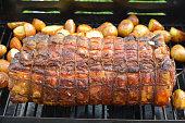 Cooked roast of pork or italian porchetta recipe