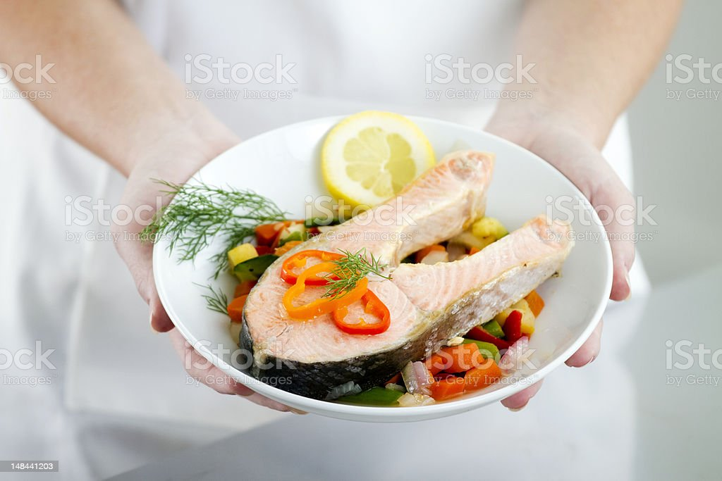 Cooked Salmon Dish stock photo